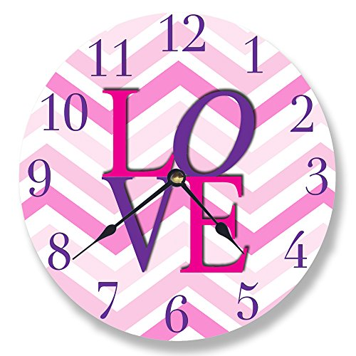 The Kids Room by Stupell Purple and Pink Love Chevron Wall Clock