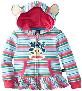 (新品)Paul Frank大嘴猴女宝宝连帽保暖外套 Baby-Girls Infant Striped Hoodie$30