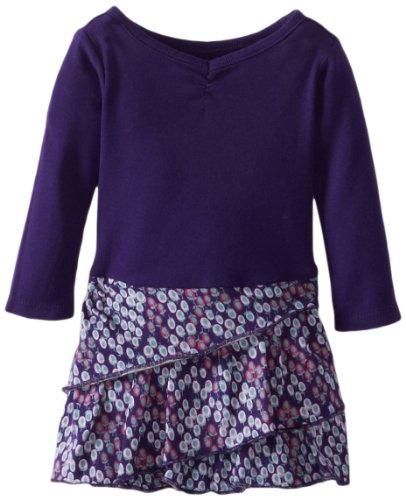 Tea Collection Baby-Girls Newborn Long Sleeve Diagonal Ruffle Dress, Grape Juice, 3-6 Months