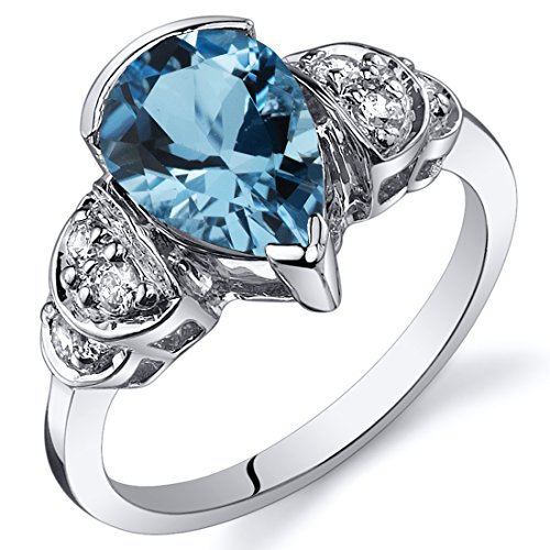 Tear Drop 2.00 carats Swiss Blue Topaz Solitaire Engagement Ring in Sterling Silver Rhodium Nickel Finish Size 7