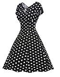 Sunne Women Polka Dots Summer 1950s Vintage Casual Tea Dress Black L