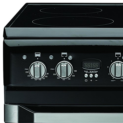 Indesit ID60C2K 600mm Double Electric Cooker Ceramic Hob Black