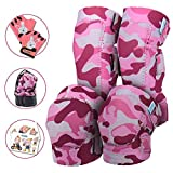 Innovative Soft Kids Knee and Elbow Pads with Bike Gloves | Toddler Protective Gear Set w/Mesh Bag& Sticker | Comfortable& Flexible | Roller-Skating, Skateboard, Bike Knee Pads for Children Boys Girls (Color: Pink Camo, Tamaño: Small (2-4 years))