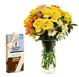 Lemon Merengue and Roses and Scharffen Berger Chocolate - With Vase