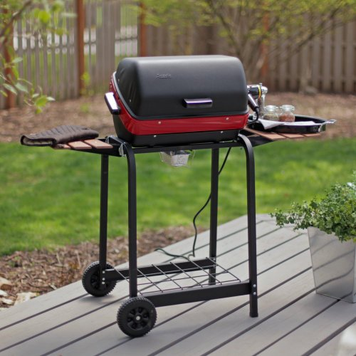 Meco 9325 Deluxe Electric Cart Grill, Satin Black With Garnet Accent Band
