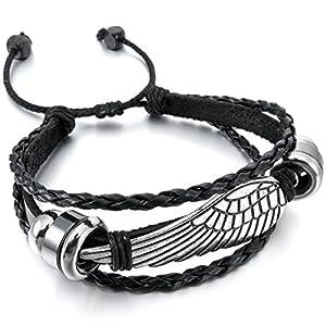 MunkiMix Alliage Genuine Leather Bracelet Bracelet Noir Argent Ange Aile Surfer Enveloppez Tribal Réglable S'Adapter 7~9 Pouce Herren