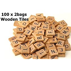200 Wood Scrabble Tiles - NEW Scrabble Letters - Wood Pieces - 2 Complete Sets - Great for Crafts, Pendants, Spelling