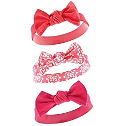 Yoga Sprout Baby 3 Pack Bow Baby Headbands, Coral, 0-12 Months