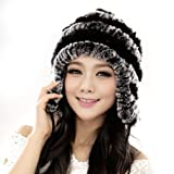 Starway0311 Women's Rex Rabbit Fur Hats Winter Ear Cap Flexible Multicolor (Grey & Black)