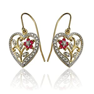 Click to buy 18k Yellow Gold Plated Sterling Silver Ruby and Diamond Accent Heart Earrings from Amazon!