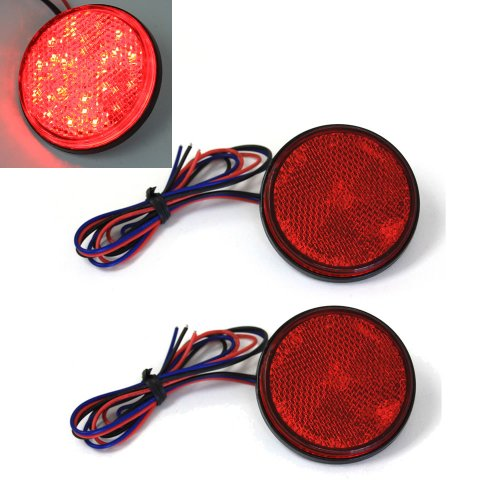 Red 24 Led Round Reflectors Tail Brake Stop Marker Light Truck Trailer Rv Atv Motorcycle
