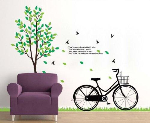 爽やかな空間に! ウォールステッカー 木 小鳥 自転車 ウォールペーパー 壁紙シール