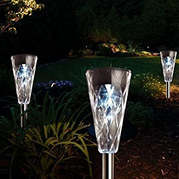 8 x Stainless Steel Solar Lights Garden Solar Light Ice White - New - presented by Ornamental Weather.