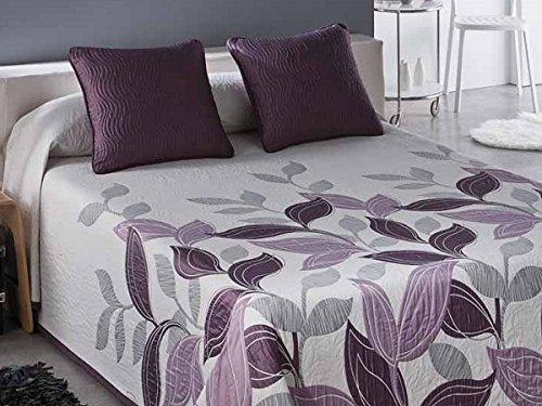 Textilhome - Funda Cojín Colcha piqué Reversible PALMIRA 50x60 cm. Color Malva
