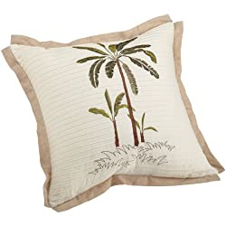 Croscill Fiji Square Pillow, 18-inch-by-18-inch, Oatmeal
