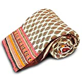 Great Art Hand Filled Pure Cotton Soft and Light Weight Rajasthani Gold Printed Cotton Single Bed Quilt 110