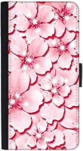Snoogg Pink Flower Graphic Snap On Hard Back Leather + Pc Flip Cover Htc One S