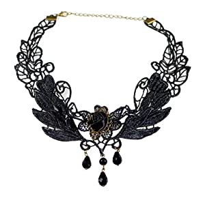 Yazilind Jewelry Black Rose Flower Lace Collar Necklace Gothic Lolita Beads Pendant Christmas Gift Wedding Party for Women