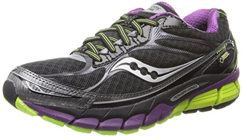 Saucony Women's Ride 7 GTX Running Shoe,Black/Purple/Citron,7.5 M US