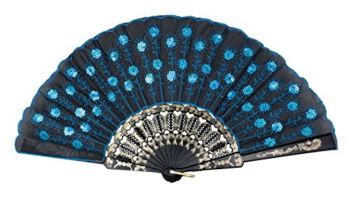 Peacock Pattern Sequin Fabric Hand Fan Decorative,Blue