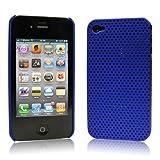 iPhone  4  ケース ハードプラスチック  ブルー 液晶保護フィルム   USB充電ケーブル付 送料無料