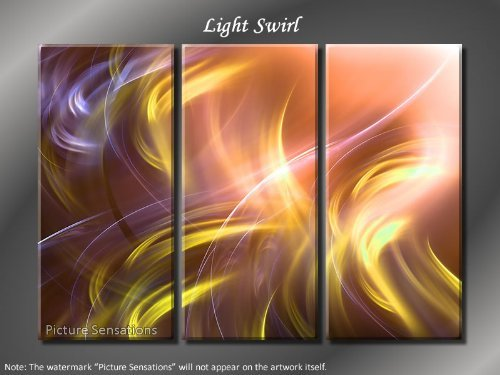 Framed Huge 3 Panel Digital Fractal Art Light Swirl Giclee Canvas Print