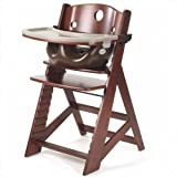 Height Right High Chair in Mahogany with Infant Insert with Tray in Chocolate