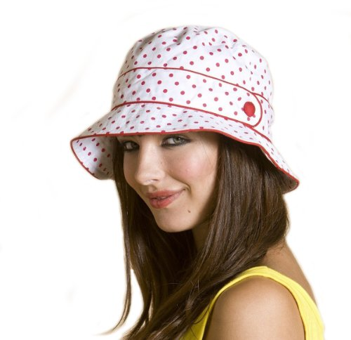 Ladies Cotton Polka Dot Bucket Summer Fashion Hat with Button Detail in Red and White image