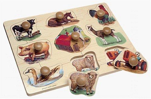 Cheap Toys Large Wooden Farm Jumbo Knob 9-piece Puzzle (B00000JBLC)