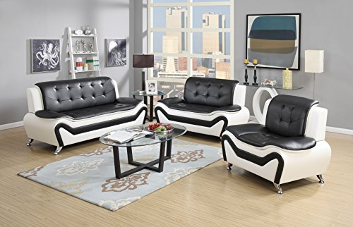 US Pride Furniture S5067-3PC 3 Piece Modern Bonded Leather Sofa Set, White/Black