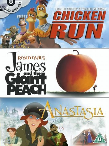 Chicken Run/James And The Giant Peach/Anastasia [DVD] [1996]