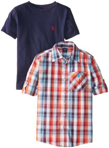 U.S. Polo Assn. Big Boys' Plaid Long Sleeve Sport Shirt With Crew Neck T-Shirt Set, White/Multi, 10/12