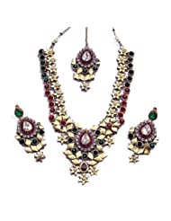 Elegant Elements Zircon And Colored Stone Stud Royal Vintage Necklace Set For Women EEN65
