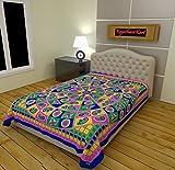 RajasthaniKart 100% Cotton Single Bedsheet (Blue)