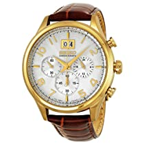 Seiko Chronograph Silver Dial Brown Leather Mens Watch SPC088
