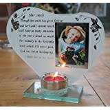 Her smile - Inspirational poem, candle and photo holder glass memorial plaque
