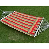 Strong Camel STRIPE-ORANGE-RED Hammock Double Size Quilted Fabric Heavy Duty Sleep Bed W/Pillow + wooden stick