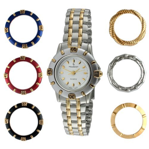 Peugeot Women's 620 Two-Tone Interchangeable 7 Bezel Gift Set Watch