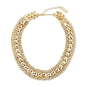 Steve Madden Gold Rhinestone Chain-Link Necklace, 15