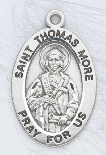 Sterling Silver Oval Medal Necklace Patron Saint St. Thomas More with 20