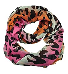 WishCart Women's Infinity Circle Scarves Lightweight Leopard and Zebra Printing -Multi Pink