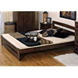 "New Solid Bed Frame, The ""ONE"" with slats : (Walnut, Double)"