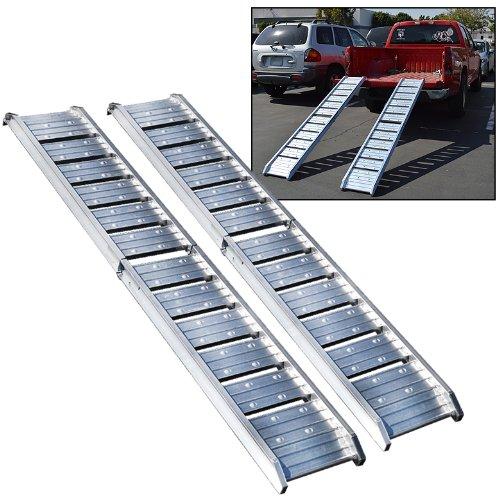 (PAIR) 6FT Aluminum Folding Truck Ramp 440LB/200KG Construction Loading Cement Barrows