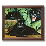 Three Black Panthers Wildlife Home Decor Wall Picture Cherry Framed Art Print