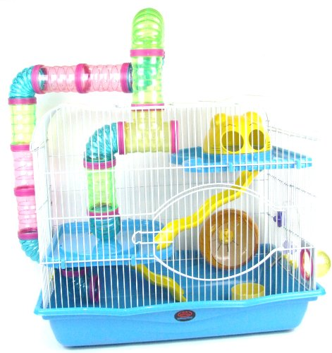 AquarLine DublinSmall Animal Cage Suitable for Syrian Hamsters/ Rats/ Gerbils and other Small Animals , Extra Large, Blue 51EKie9hppL hamster cages Hamster Cages | Toys | Balls | Treats | Bedding 51EKie9hppL