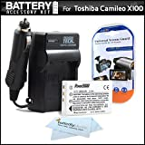 Battery And Charger Kit For Toshiba Camileo X100 H30 Full-HD Camcorder Includes Extended (1850Mah) Replacement PX1657 Battery + Ac/Dc Travel Charger + LCD Screen Protectors + MicroFiber Cleaning Cloth
