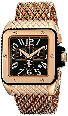 "Invicta Men's 1694 ""Cuadro"" 18k Rose Gold Ion-Plated Watch with Mesh Bracelet"