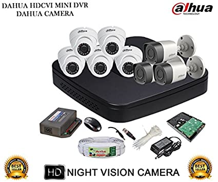 Dahua DH-HCVR4108C-S2 8CH Dvr, 5(DH-HAC-HDW1000RP) Dome, 3(DH-HAC-HFW1000RP) Bullet Camera (With Accessories, 2TB HDD)