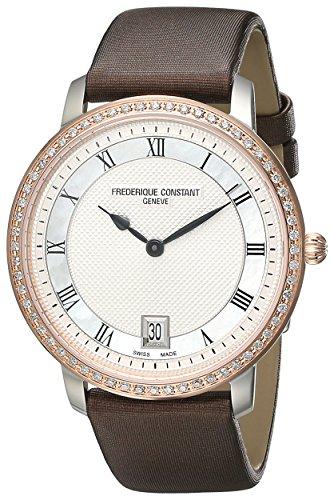 Frederique Constant FC220M4SD32 - Orologio da polso da donna, cinturino in raso colore marrone