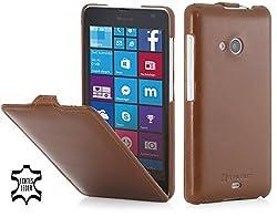 StilGut UltraSlim, Leather Case for Microsoft Lumia 535 / Lumia 535 Dual SIM, Cognac Brown